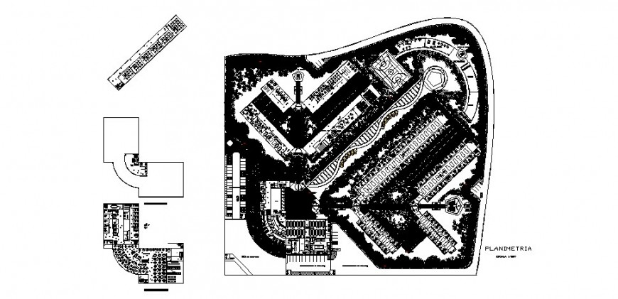 Luxuries hotel general distribution plan and second, third floor plan cad drawing details dwg file