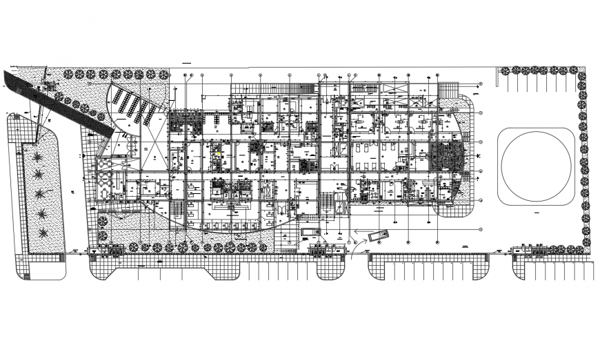 Luxuries hotel layout plan with landscaping structure cad drawing details dwg file