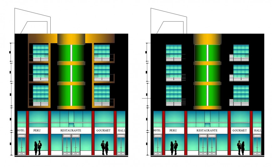 Luxuries hotel with disco front and back elevation cad drawing details dwg file