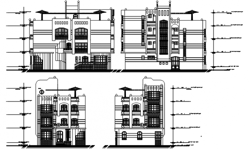Luxuries meky villa all sided elevation cad drawing details dwg file