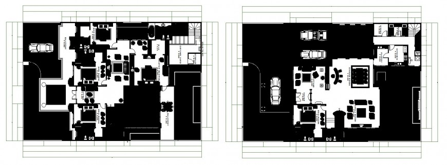 Luxuries modern two house distribution plan cad drawing details dwg file