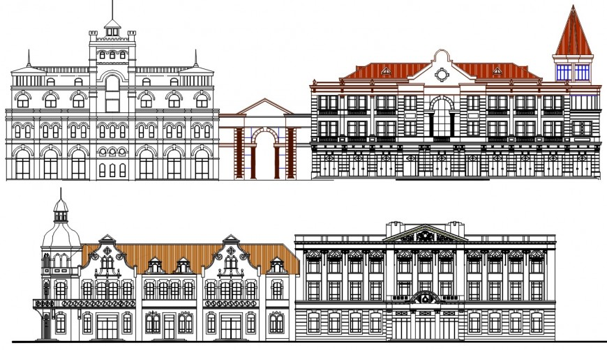 Luxurious multi-level classic villa all sided elevation cad drawing details dwg file