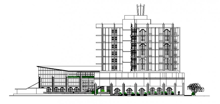 Luxuries multi-level hotel building elevation cad drawing details dwg file