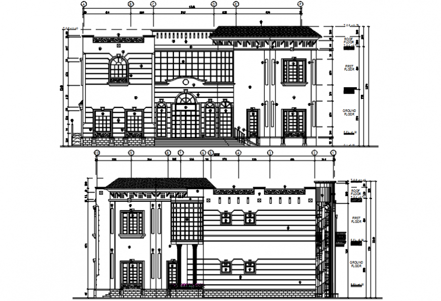 Luxuries multi-level villa front and back elevation drawing details dwg file