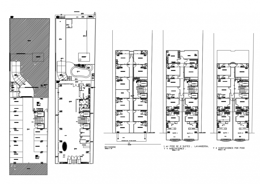 Luxuries multi-story hotel building floor distribution plan cad drawing details dwg file