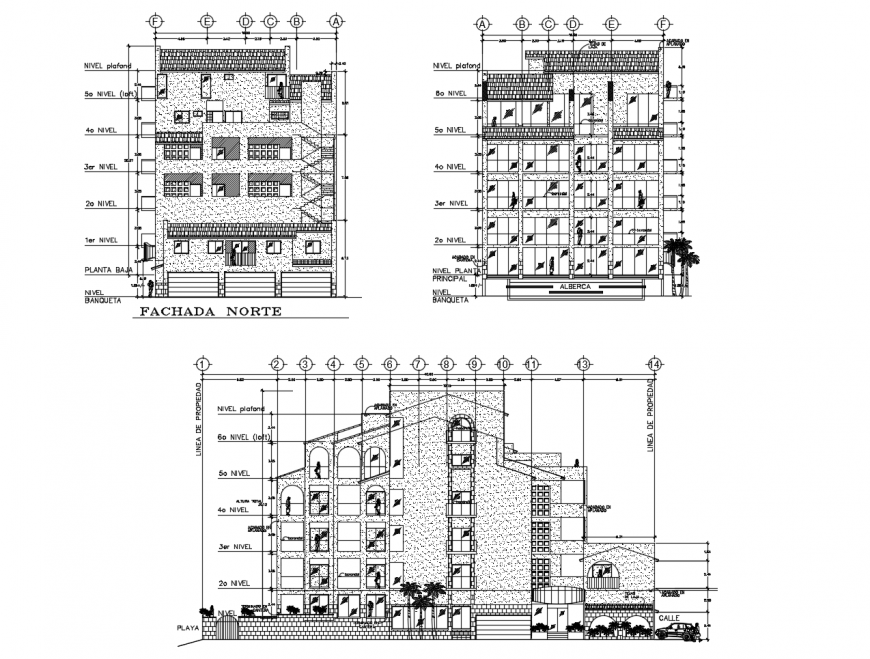 Luxuries multi-story hotel building main and back elevation and main sectional drawing details dwg file