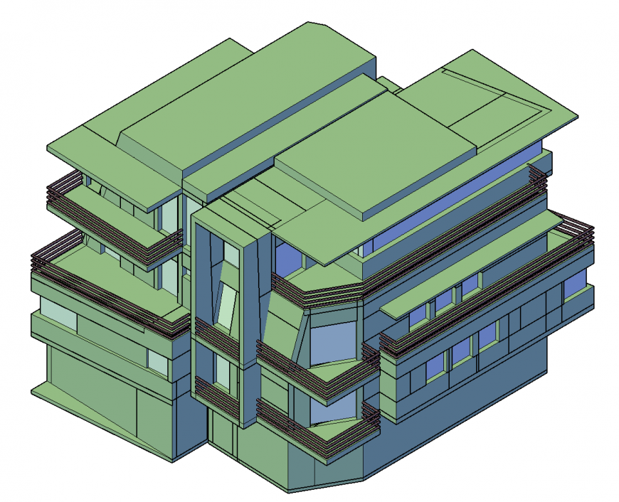 Luxuries multi-story residential bungalow 3d model cad drawing details dwg file