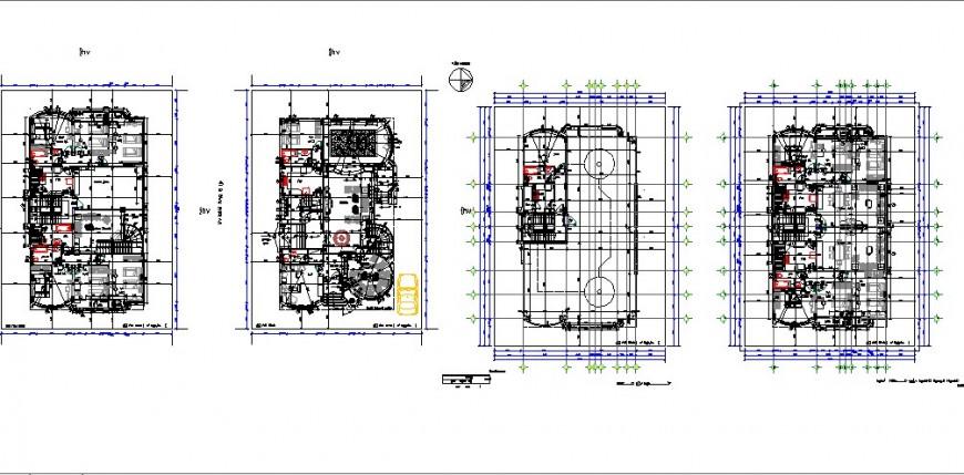 Luxuries multi-story villa building floor plan distribution cad drawing details dwg file