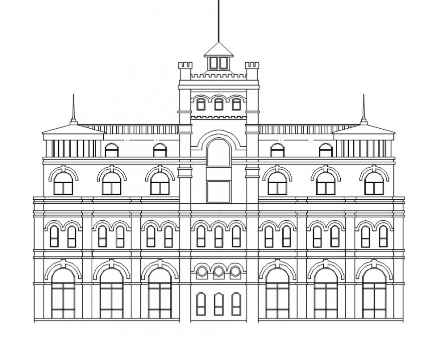 Luxurious old villa front elevation cad drawing details dwg file