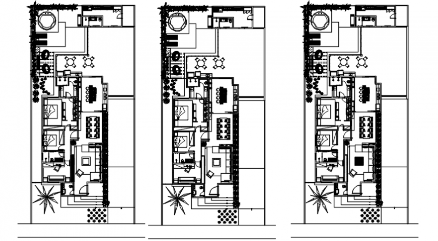 Luxuries residential houses plan with furniture layout cad drawing details dwg file