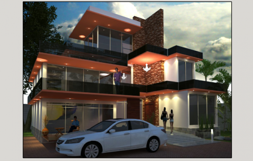 Luxuries residential villa 3d design cad drawing details dwg file