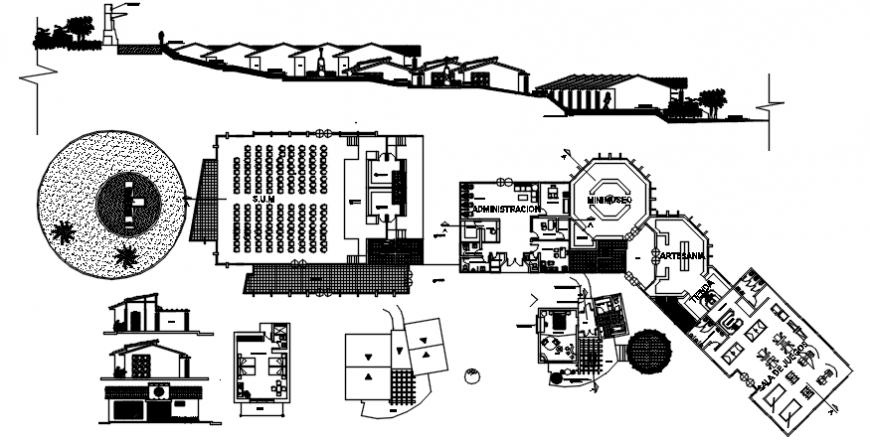 Luxuries resort building elevation, section, plan and cottage details dwg file