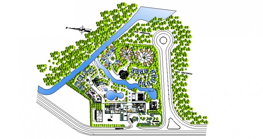 Luxuries resort type hotel distribution plan and landscaping structure details dwg file