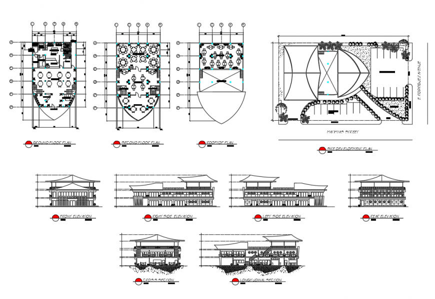 Luxuries restaurant all sided elevation, section and plan details dwg file