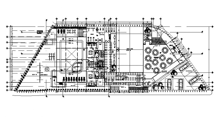 Luxuries restaurant distribution plan with furniture details dwg file
