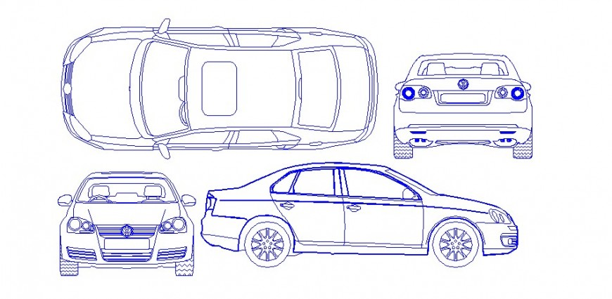 Luxuries single car all sided elevation block cad drawing details dwg file