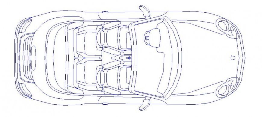 Luxuries single car top view elevation block cad drawing details dwg file