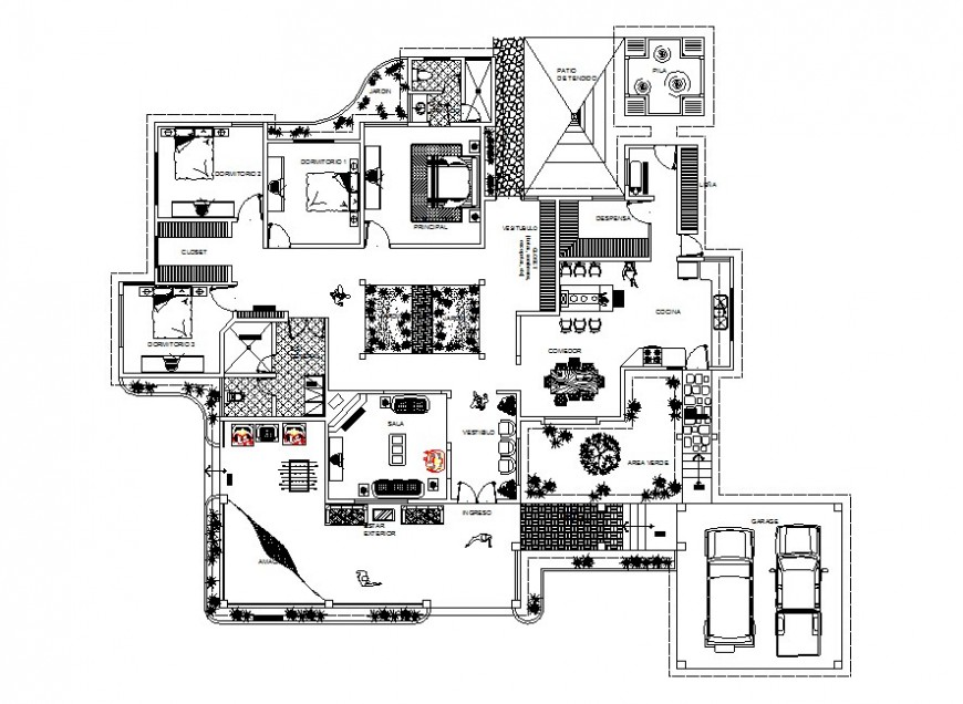Luxuries three bedroom house distribution layout plan cad drawing details dwg file