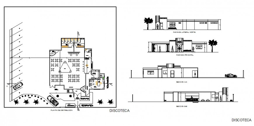 Luxuries town restaurant elevation, section and plan details dwg file