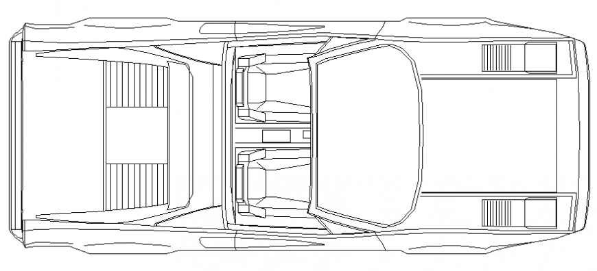 Luxuries two seated car roof view elevation cad block details dwg file