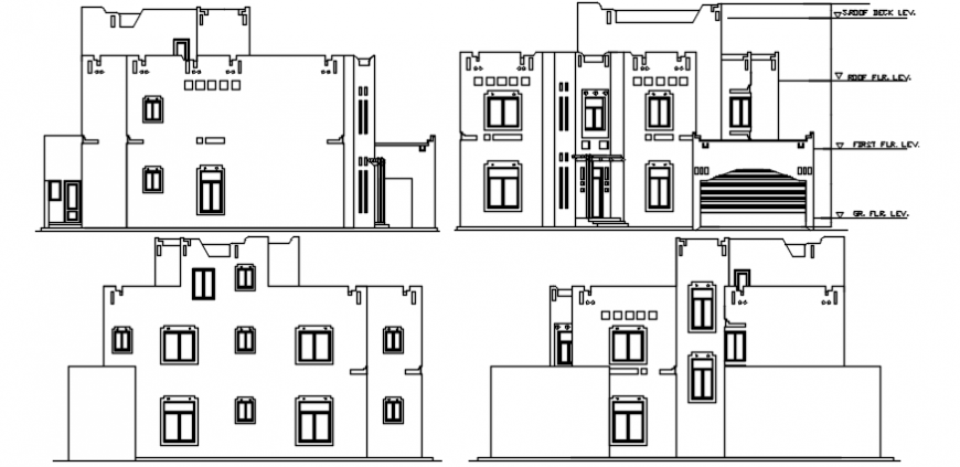 Luxuries villa all sided elevation cad drawing details dwg file