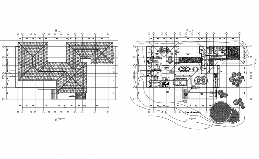 Luxuries villa distribution plan and cover plan cad drawing details dwg file