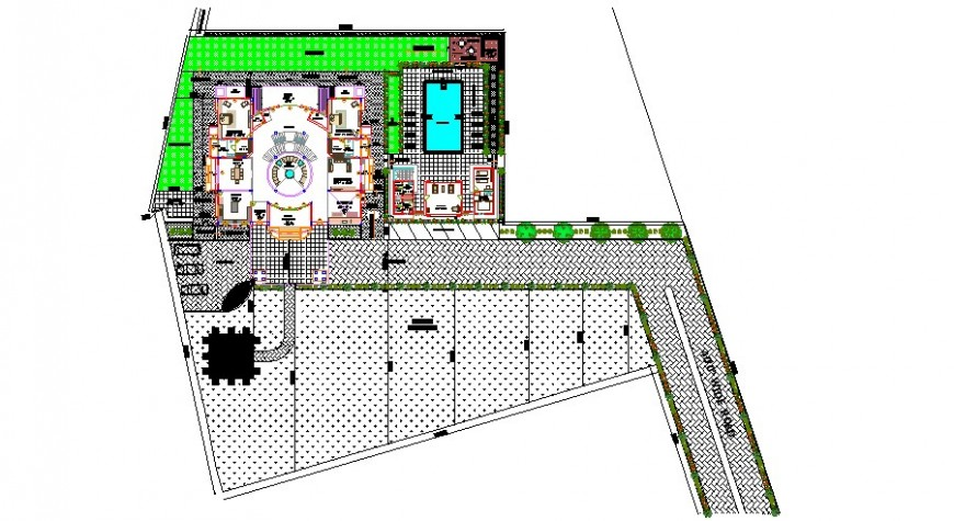 Luxuries villa distribution plan details with garden landscaping details dwg file