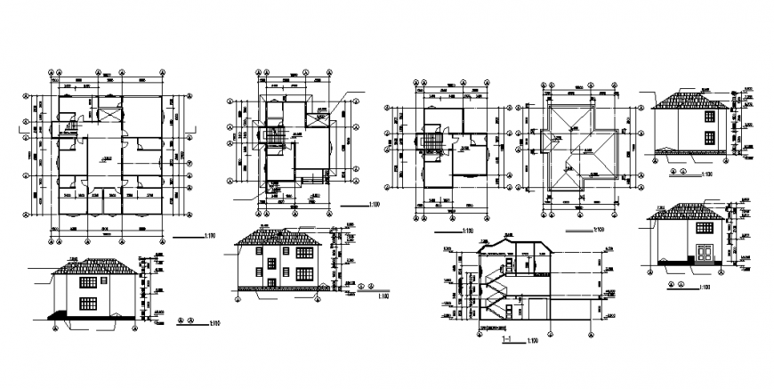 Luxuries villa elevation, section, plan and auto-cad details dwg file