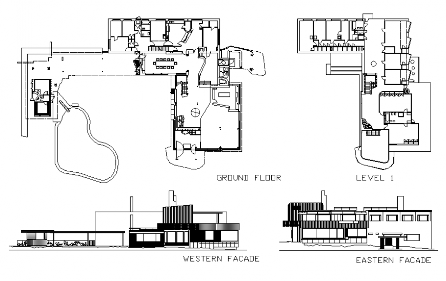 Luxuries villa facade and back elevation and floor plan details dwg file