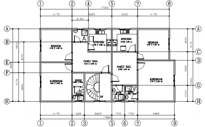 Luxuries villa first floor distribution plan cad drawing details dwg file