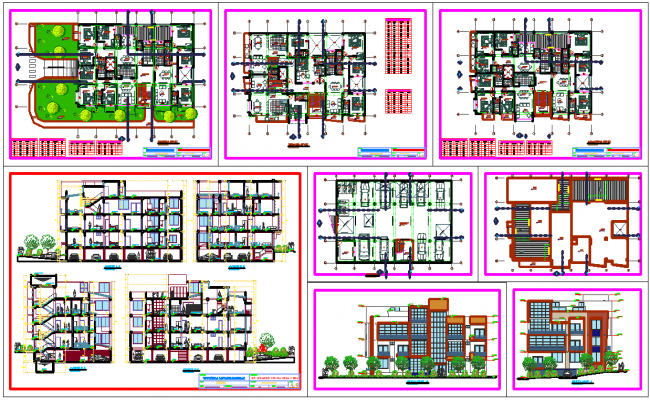 luxurious apartments architecture plan and elevations