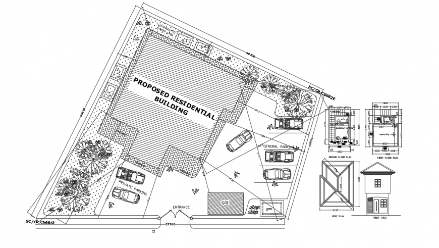 Luxurious duple house site plan cad drawing details dwg file