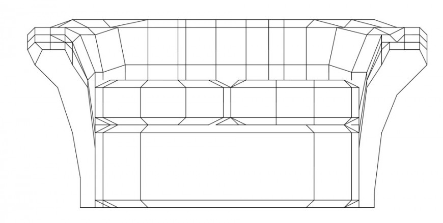 Luxurious front elevation of a sofa model dwg file