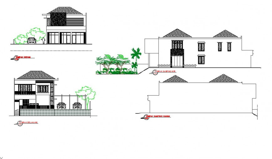 M. Bowmen home project exterior elevation drawing in dwg AutoCAD file.