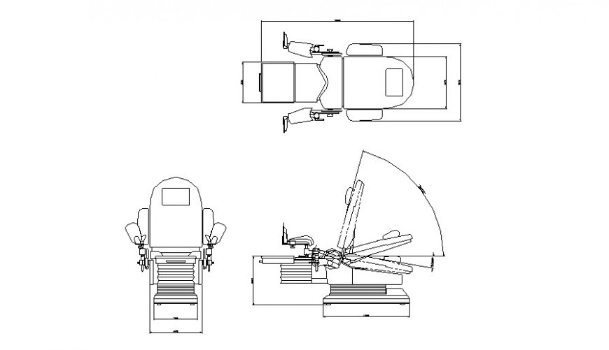Machine chair plan, elevation and section layout file