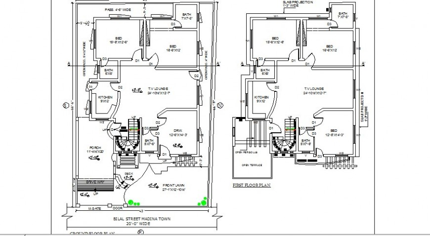 Madina town house ground and first floor plan cad drawing details dwg file
