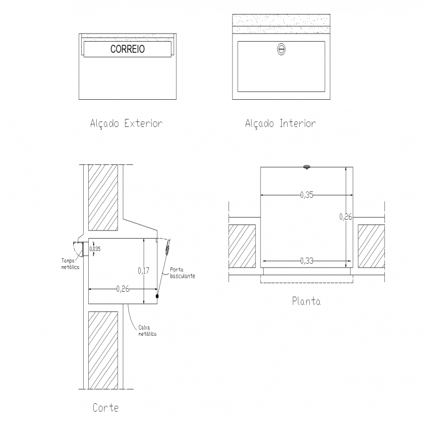 Mail box plan, elevation and section detail dwg file
