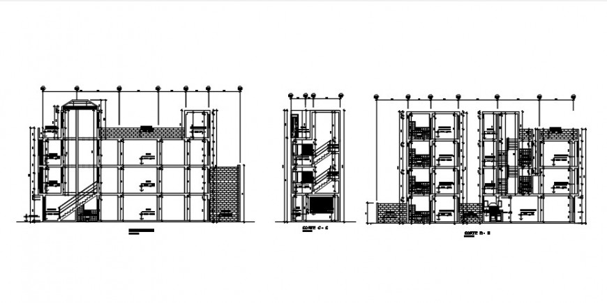 Main, back and side section drawing details of house dwg file