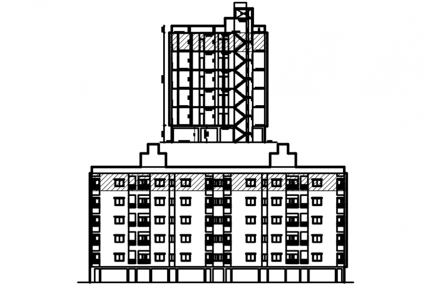 Main and elevation and side section drawing details for apartment building dwg file