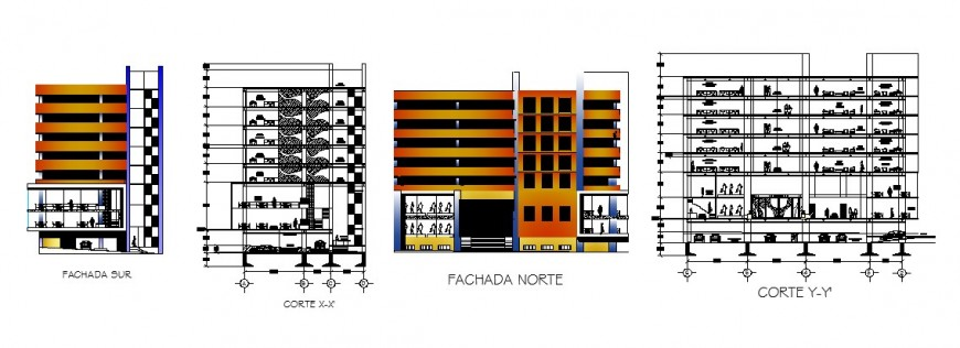 Main and back elevation and sectional details of multi-story office building dwg file