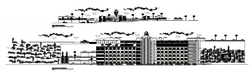 Main and back elevation details of five star luxuries hotel building dwg file