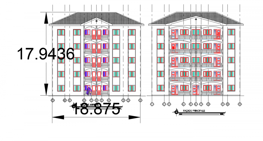 Main and back elevation details of residential apartment building dwg file