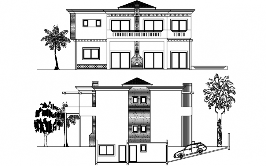 Main and back elevation details of two story residential villa dwg file