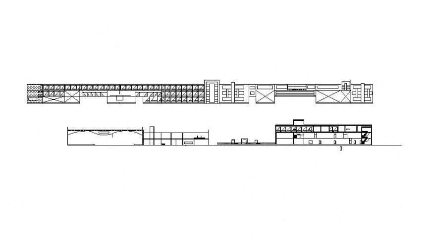 Main and back elevation drawing details of primary school dwg file