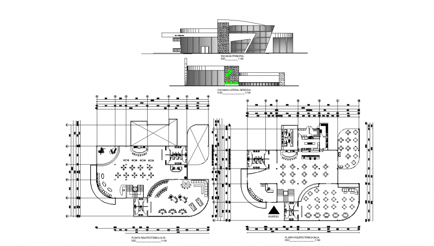 Main and back elevation of restaurant with bar cafeteria with floor plan cad drawing details dwg file