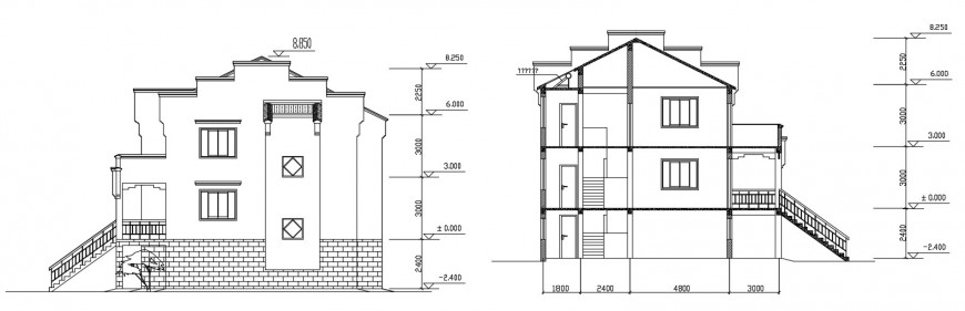 Main and back section details of village residential house dwg file
