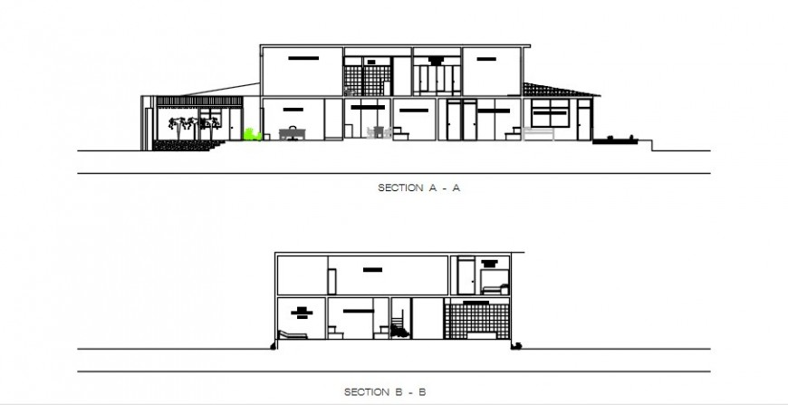 Main and back section drawing details of residential house dwg file