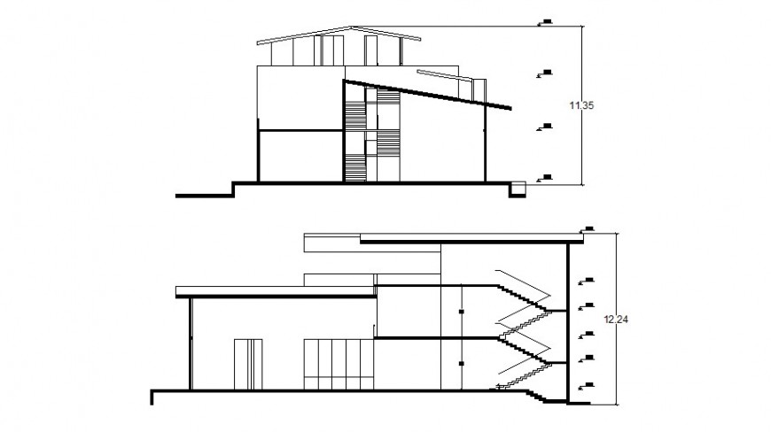 Main and back section drawing details of residential villa dwg file