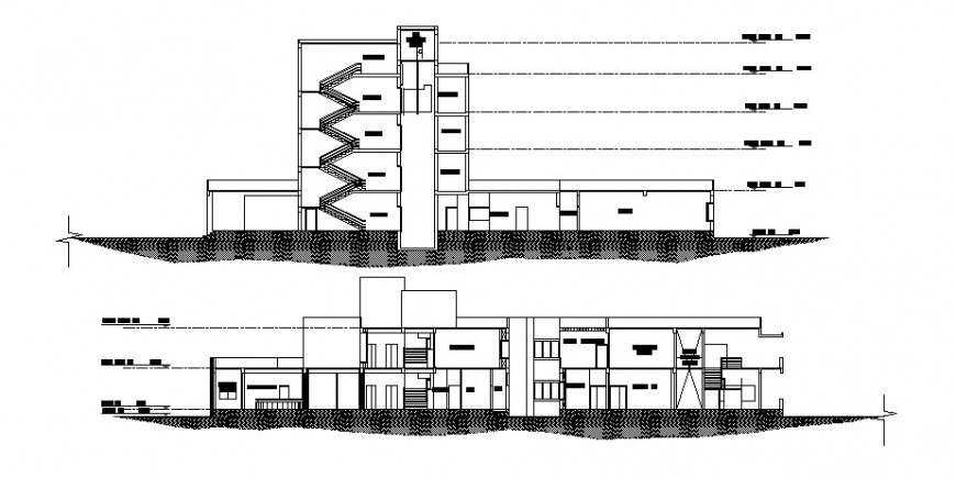 Main and back sectional drawing details of multi-specialist hospital building dwg file