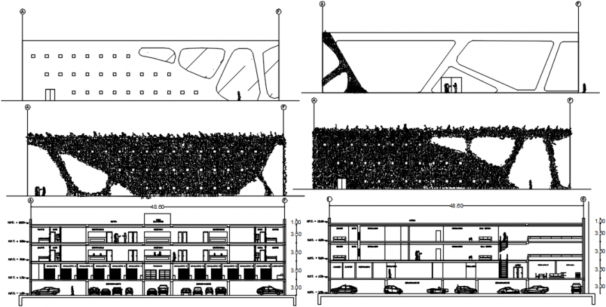 Main and back sectional drawing details of multi-story private hospital dwg file